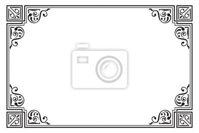 af96736137c55 Fototapeta Ozdobny prostokątna czarna ramka. Rogi