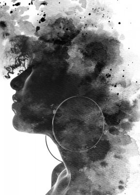 Fototapeta Paintography portrait of a young woman