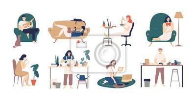Fototapeta Pakiet młodych mężczyzn i kobiet spędzających weekend w domu - gra na gitarze, je sushi, czyta książki, surfuje po Internecie, słucha muzyki, gotuje. Ilustracja wektorowa kolorowe w stylu cartoon płas