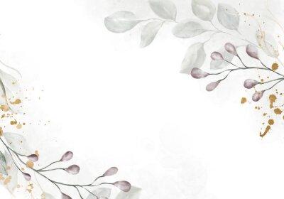 Fototapeta Pale watercolor leaves on white background - vertical botanical design banner. Floral pastel watercolor, vintage style