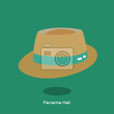 bb7a8d0ae Fototapeta PANAMA HAT Słomkowy kapelusz panama z rondem i zieloną skórą.  Lekki kapelusz słomkowy z