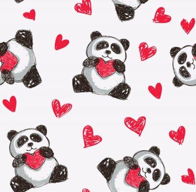 Fototapeta panda holding heart seamless background