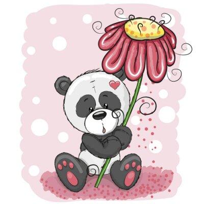 Fototapeta Panda z kwiatem