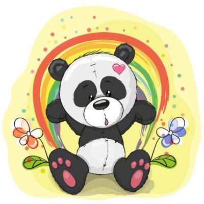 Fototapeta Panda z tęczy