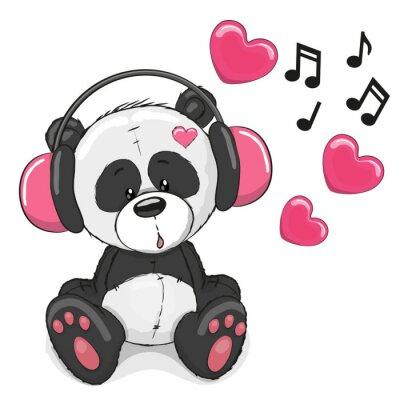 Fototapeta Panda ze słuchawkami