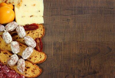 Fototapeta Pane, salumi e formaggi
