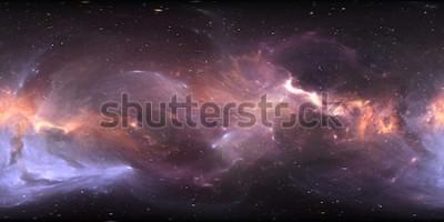 Fototapeta Panorama mgławicy w przestrzeni 360 stopni, projekcja w układzie prostokąta, mapa środowiska. Panorama sferyczna HDRI. Tło z mgławicy i gwiazd. 3d ilustracja
