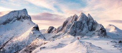Fototapeta Panorama of Mountaineer standing on top of snowy mountain range