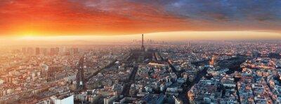 Fototapeta Panorama Paryża o zachodzie słońca, pejzaż