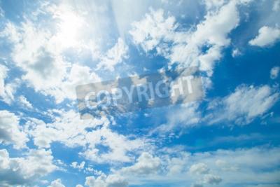 Fototapeta Panorama strzał z błękitne niebo i chmury w dobrych dni pogodowych