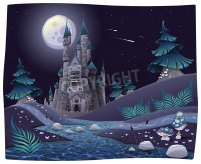 Fototapeta Panorama z zamku nocne. Cartoon i ilustracji wektorowych.