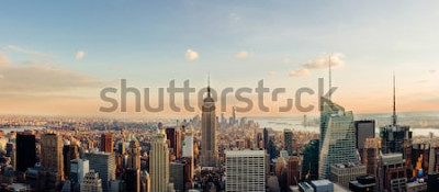 Fototapeta Panoramę Nowego Jorku, patrząc na centrum Manhattanu. Obraz panoramiczny.
