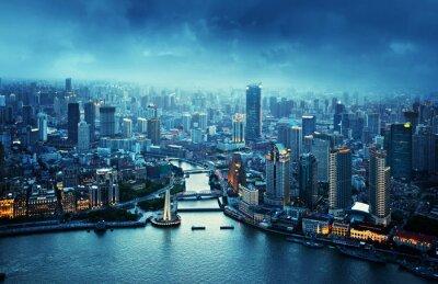 Fototapeta panoramę Szanghaju, w Chinach o zachodzie słońca