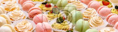Fototapeta Panoramic image tray with delicious dessert