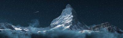 Fototapeta panoramic view to the majestic Matterhorn mountain at night. Valais, Switzerland