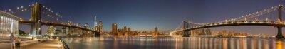 Fototapeta Panoramiczny widok mostu Manhattan, Brooklyn Bridge i Manhattan Skyline w nocy