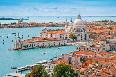 Fototapeta Panoramiczny z lotu ptaka pejzaż Wenecji z Santa Maria della Salute, Wenecja Euganejska, Włochy