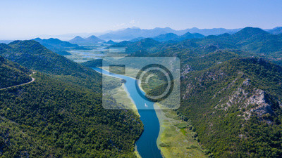 Fototapeta panormic view of lake skadar in Montenegro, famous site touristic with river and mountain