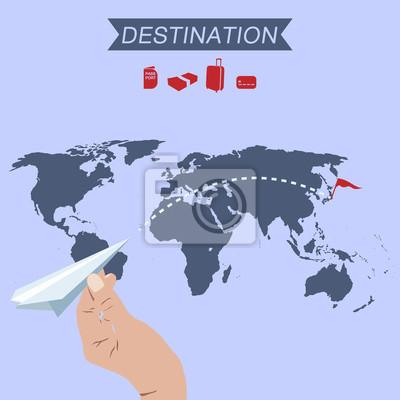 Fototapeta Papierowy samolot docelowy na mapie świata
