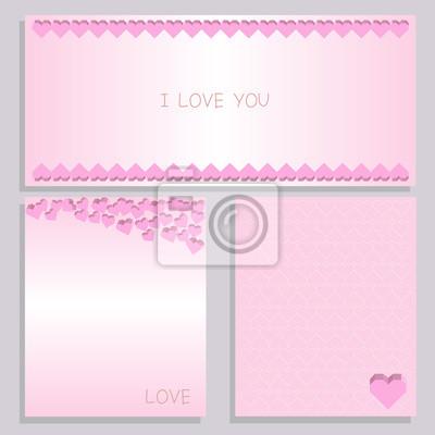 Fototapeta papieru serca różowa karta zestaw
