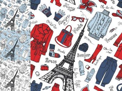 Fototapeta Paris Fashion.Clothing seamless pattern set.Tricolor doodle