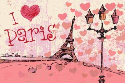 Fototapeta Paris grunge z wieży Eiffla