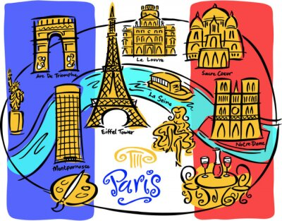 Fototapeta Paris Oznacz Mapa