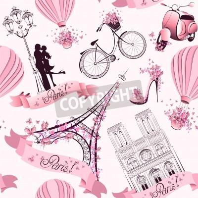 Fototapeta Paris symbols seamless pattern  Romantic travel in Paris
