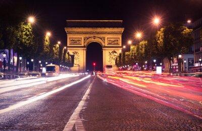 Fototapeta Paryż, Champs-Elysees w nocy