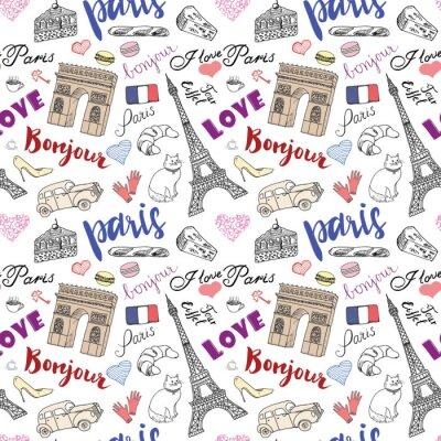 Fototapeta Paryż szwu z ręcznie rysowanych elementów szkicu - Wieża Eiffla Triumf Arch, galanterii. Rysunek doodle ilustracji wektorowych, samodzielnie na białym tle