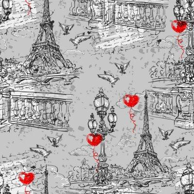 Fototapeta Paryż. Vintage szwu wzór 3