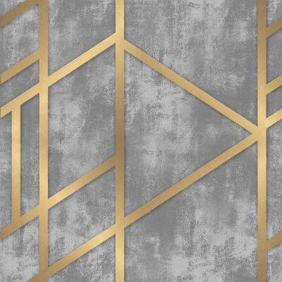 Fototapeta pattern gray concrete with golden geometric lines
