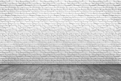 Fototapeta pavimento w cemento e Muro w Mattoni Bianchi