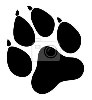 Fototapeta Paw drukuje. Logo. Ilustracja wektora. Ilustracji wektorowych odizolowane. Czarny na białym tle. EPS 10