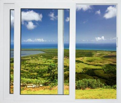Fototapeta pejzaż z widokiem przez okno