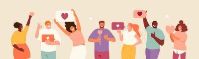 Fototapeta People holding likes. Satisfied customers and followers on social media. Positive feedback. Vector illustration