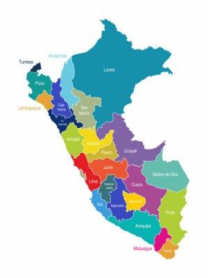 Fototapeta Peru Mapa Regiony Wektor