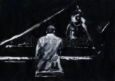 Fototapeta Pianista i kontrabasista. Koncert zespołu jazzowego. Fortepian i kontrabas grają na scenie. Stylowe czarno-białe malarstwo abstrakcyjne. Widok z tyłu i boku. Muzycy z instrumentami.