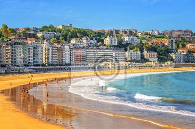 Fototapeta Piasek na plaży w San Sebastian w Hiszpanii