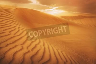 Fototapeta Piasek pustyni, zachód słońca na pustyni Zjednoczonych Emiratów Arabskich, Dubaj