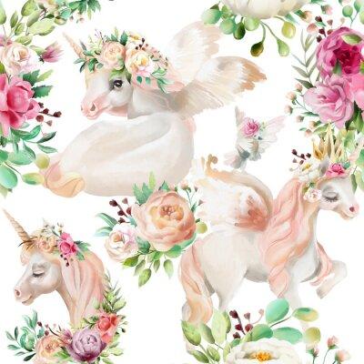 Fototapeta Piękna, akwarela jednorożce księżniczka, pegasus w złotej koronie i kwiatów, kwiaty piwonia i bukiety róż i gołąb na białym tle wzór