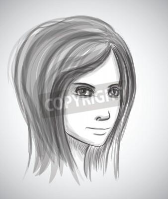 Piękna Dziewczyna Twarzy Szkic Ołówkiem Portret Imitacja W Wektorze