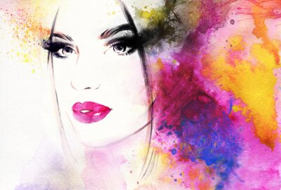 Fototapeta Piękna kobieta, portret. Streszczenie ilustracji mody akwarela
