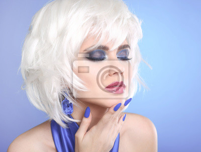 Fototapeta Piękna Makijaż Portret Kobiety Białe Włosy Krótkie Fryzury