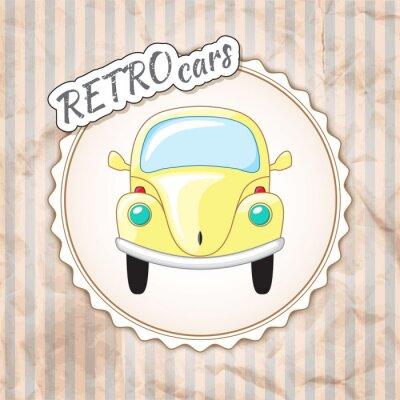 Fototapeta Piękna mała żółta samochód retro.