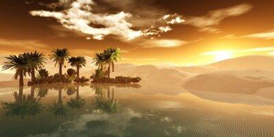 Fototapeta Piękna oaza na piaszczystej pustyni, panorama pustyni, zachód słońca nad piaskami, renderingu 3D