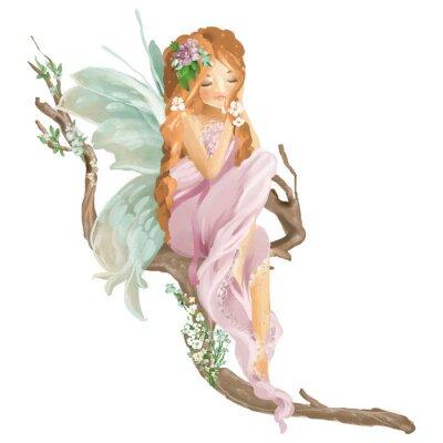 Fototapeta Piękna ręka malująca oliwna czarodziejka siedzi na starej drewno gałąź z kwiecistym bukietem, kwitnie wianek odizolowywającego na bielu