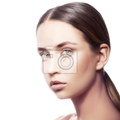 Piękna Twarzy Kobiety Naturalny Makijaż Zielone Oczy Czysta