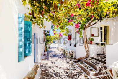 Fototapeta Piękna ulica na Paros wyspie, Grecja