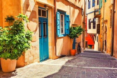 Fototapeta Piękna wygodna ulica w Chania, Crete wyspa, Grecja.